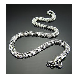 Silver Plated Hollow Snake Chain Necklace with Lobster Clasp - 42cm