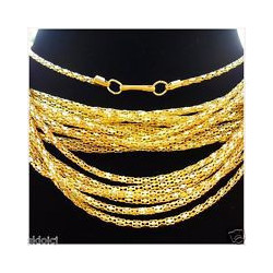 Gold Plated Hollow Snake Chain Necklace with Lobster Clasp - 42cm