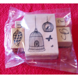 Rubber Embosser/Stamps on wood backing lucky packet of 5